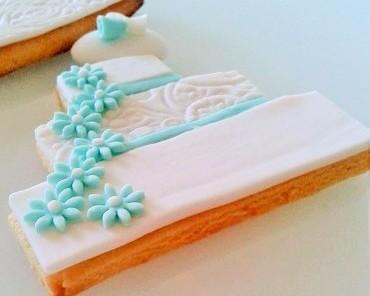 Biscotto decorato con pasta di zucchero torta acquamarina golosissime