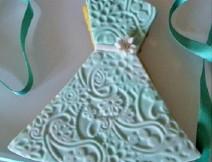 Biscotto decorato con pasta di zucchero abito sposa golosissime