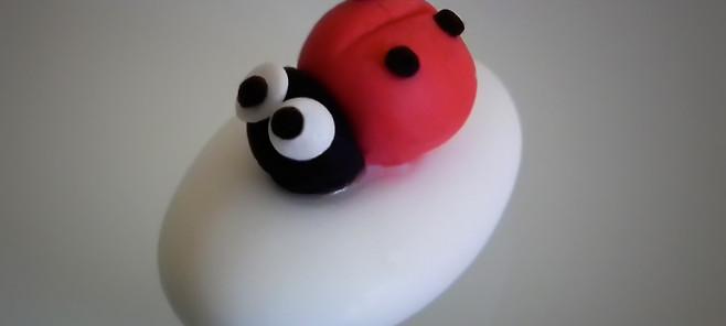 Confetti decorati con coccinella in pasta di zucchero per battesimo, compleanno, matrimonio, anniversario, laurea o evento speciale